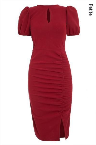 Petite Berry Ruched Keyhole Midi dress